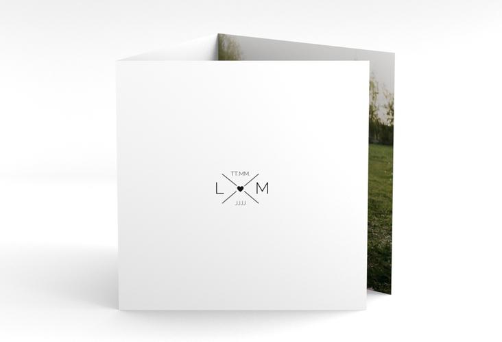 "Dankeskarte Hochzeit ""Initials"" Quadr. Karte doppelt"