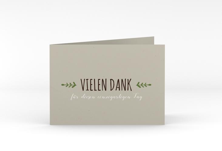 "Danksagungskarte Hochzeit ""Eden"" A6 Klappkarte Quer gruen"