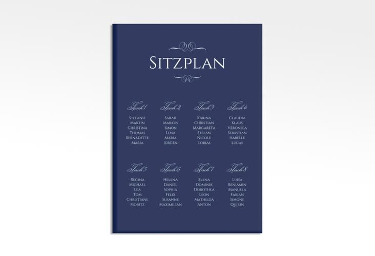 """Sitzplan Leinwand Hochzeit """"Elegancy"""" 50 x 70 cm Leinwand blau"""