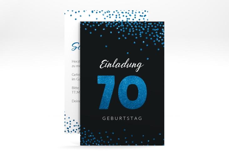 "Einladungskarte ""Glitzer"" A6 hoch blau"