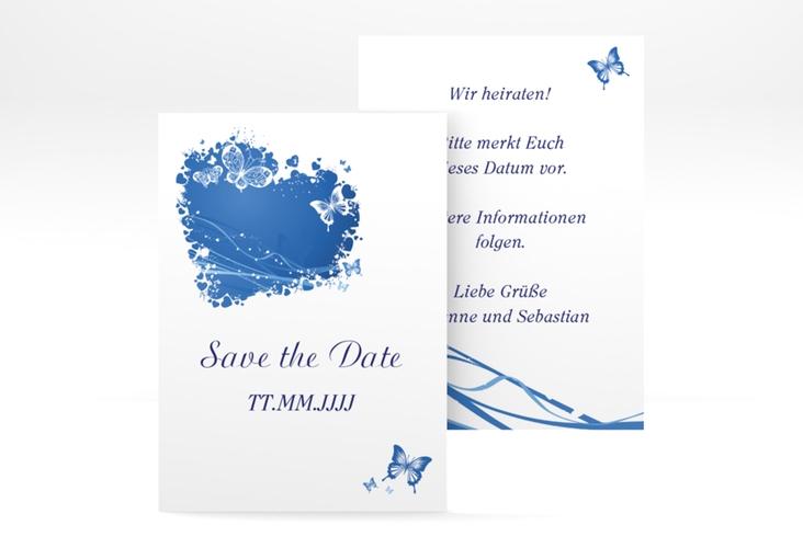 "Save the Date-Visitenkarte ""Mailand"" Visitenkarte blau"