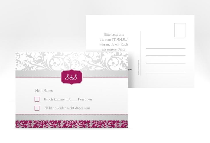 """Antwortkarte Hochzeit """"Latina"""" A6 Postkarte pink"""