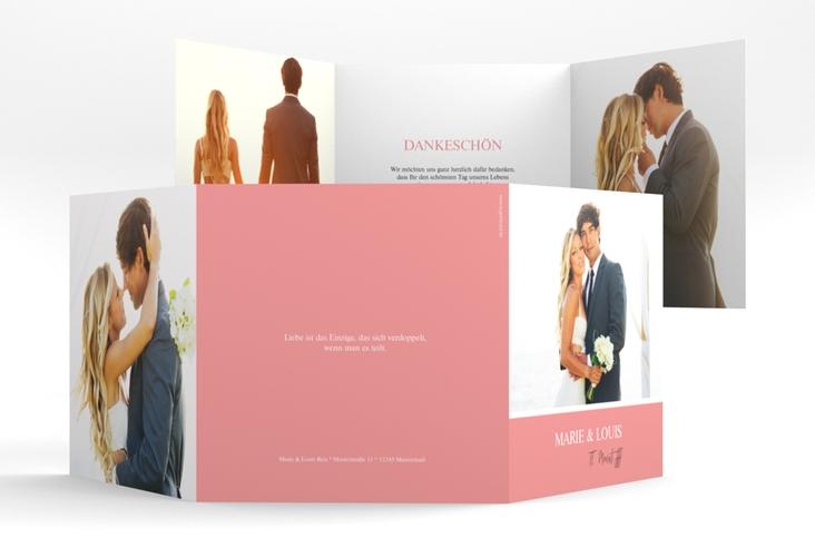 "Dankeskarte Hochzeit ""Balance"" Quadr. Karte doppelt rosa"