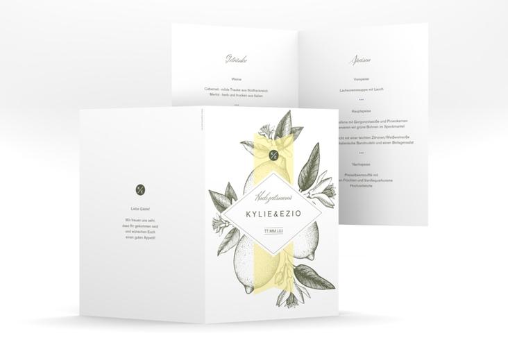"Menükarte Hochzeit ""Lemon"" DIN A5 geklappt"