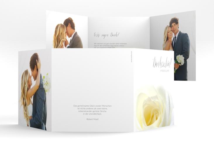 "Dankeskarte Hochzeit ""Rose"" Quadr. Karte doppelt weiss"