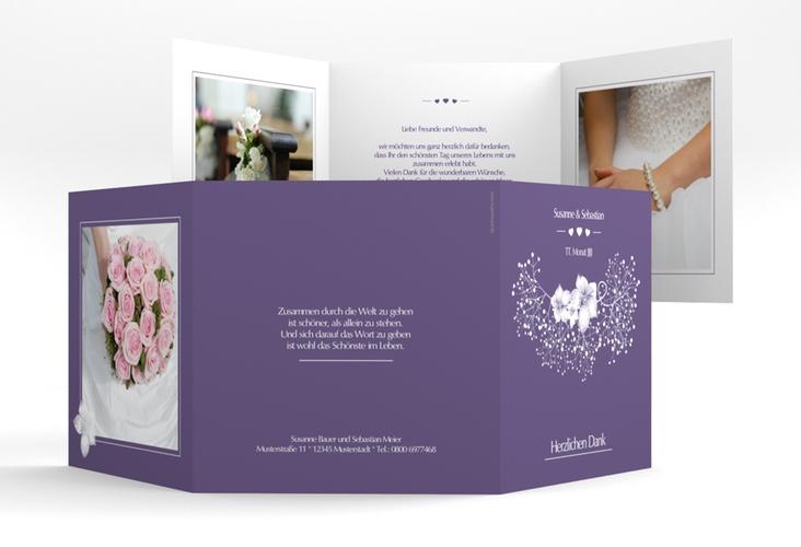 "Danksagungskarte Hochzeit ""Jena"" Quadr. Karte doppelt lila"