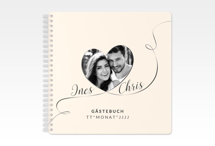 """Gästebuch Hochzeit """"Dolce"""" Ringbindung beige"""