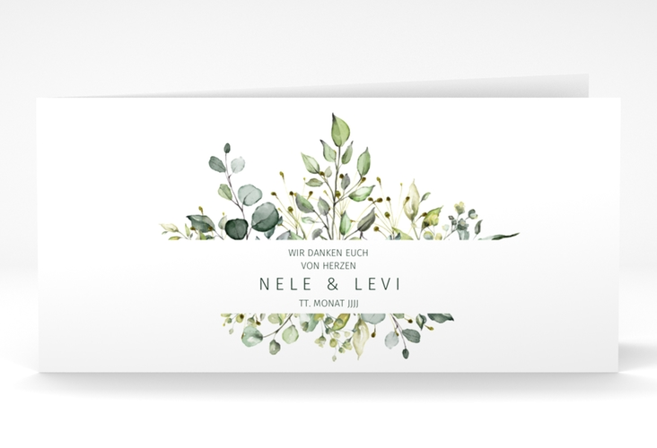 """Danksagungskarte Hochzeit """"Enchanting"""" DIN lang Klappkarte weiss"""