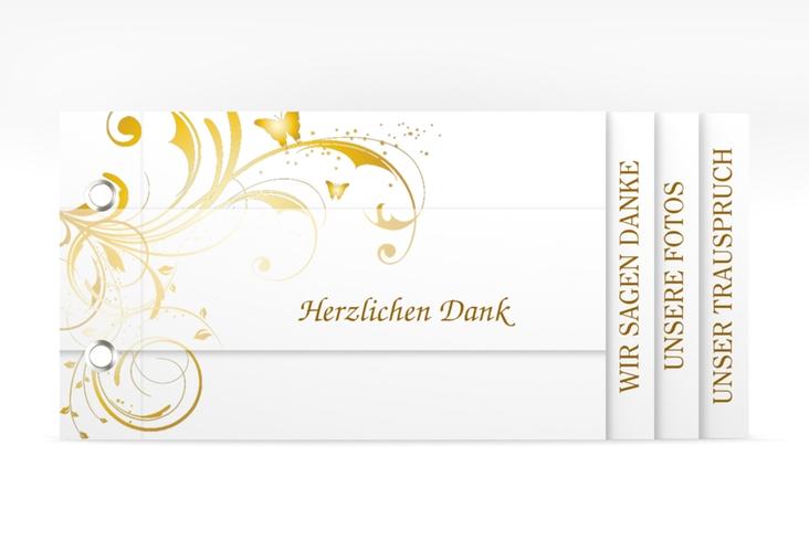 """Danksagungskarte Hochzeit """"Palma"""" Booklet gold"""