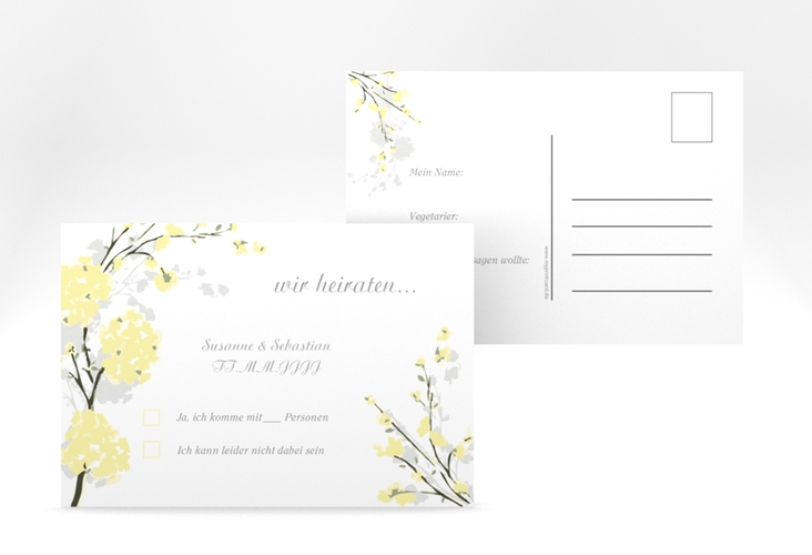 """Antwortkarte Hochzeit """"Salerno"""" A6 Postkarte gelb"""