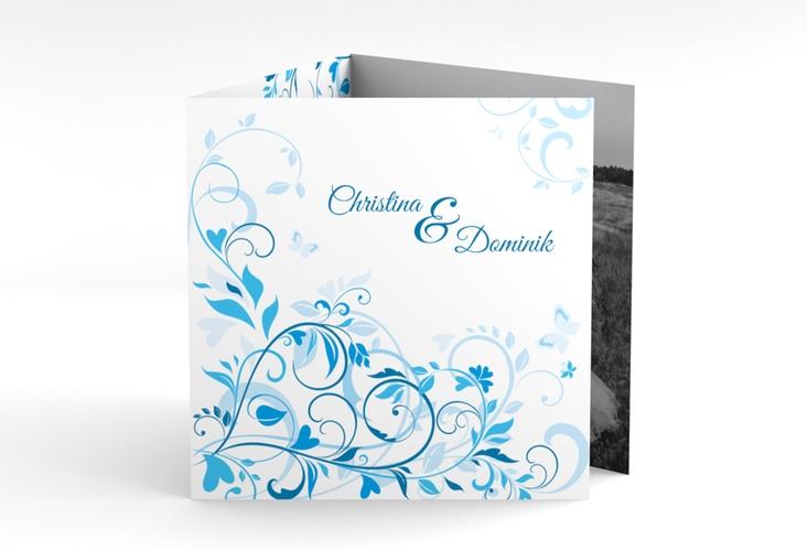 "Dankeskarte Hochzeit ""Lilly"" Quadr. Karte doppelt blau"