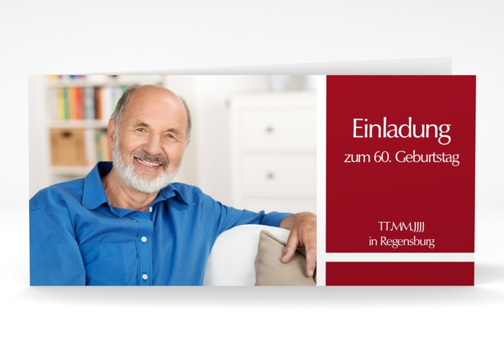 "Einladungskarte ""Gerd/Gerda"" DIN lang Klappkarte rot"