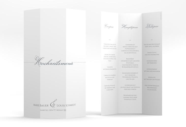 "Menükarte Hochzeit ""Pure"" DIN A4 Wickelfalz grau"