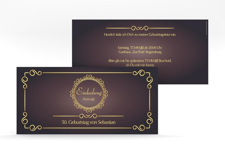 """Einladungskarte """"Bert/Berta"""" DIN lang lila"""