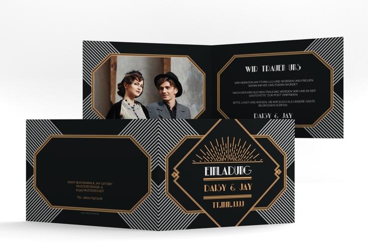 """Hochzeitseinladung """"Gatsby"""" A6 Klappkarte Quer"""