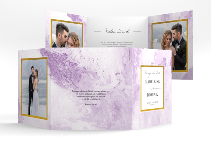 "Dankeskarte Hochzeit ""Marble"" Quadr. Karte doppelt flieder"