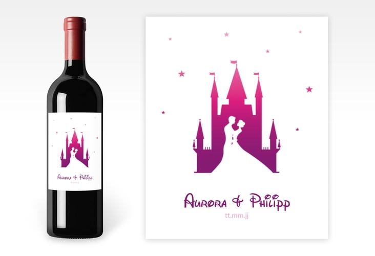 """Weinflaschenetikett Hochzeit """"Castle"""" Etikett Weinflasche 4er Set pink"""