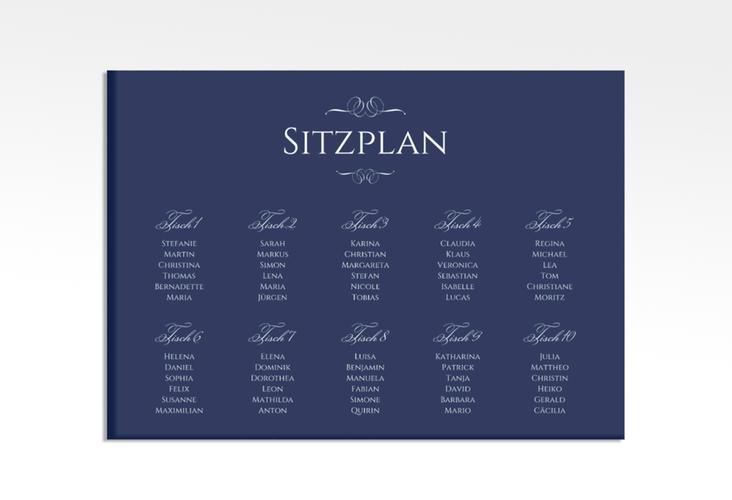 """Sitzplan Leinwand Hochzeit """"Elegancy"""" 70 x 50 cm Leinwand blau"""