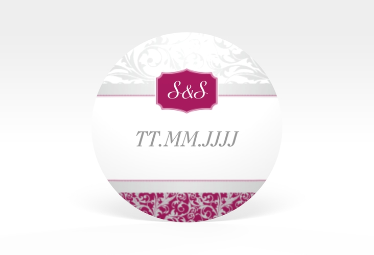 """Aufkleber Hochzeit """"Latina"""" Aufkleber, selbstklebend, rund pink"""