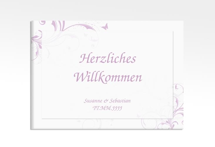 """Willkommensschild Hochzeit """"Palma"""" 70 x 50 cm Leinwand flieder"""