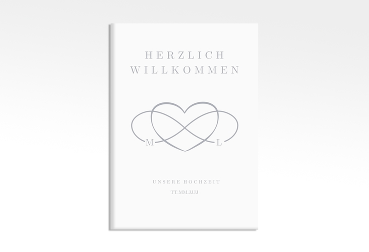 "Willkommensschild Leinwand ""Infinity"" 50 x 70 cm Leinwand grau"