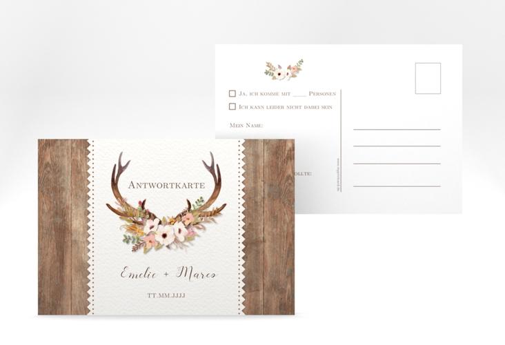 """Antwortkarte Hochzeit """"Heimatjuwel"""" A6 Postkarte braun"""