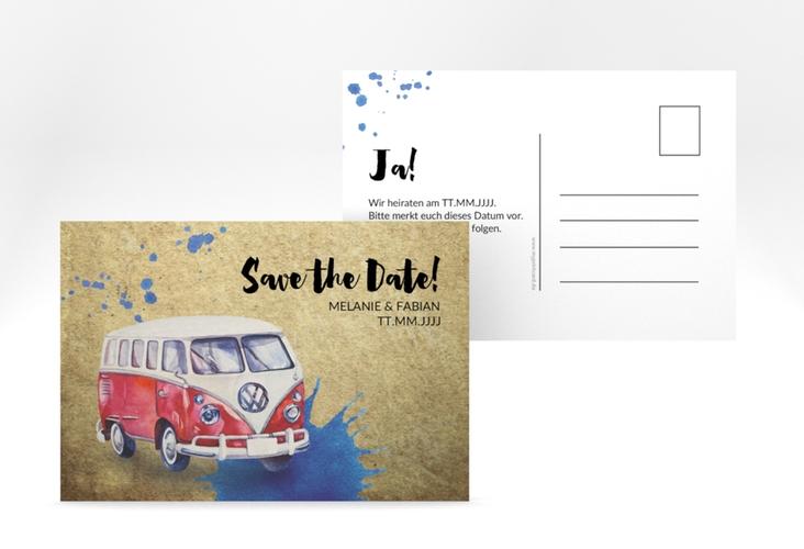 """Save the Date-Postkarte """"Bulli"""" A6 Postkarte"""