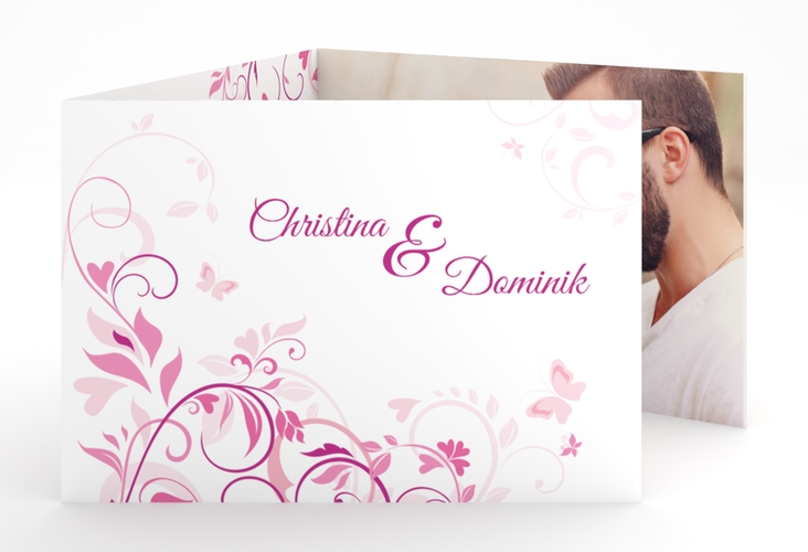 """Hochzeitseinladung """"Lilly"""" A6 doppelt geklappt pink"""
