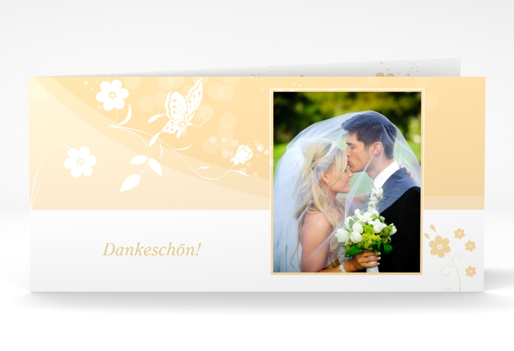 "Danksagungskarte Hochzeit ""Verona"" DIN lang Klappkarte beige"