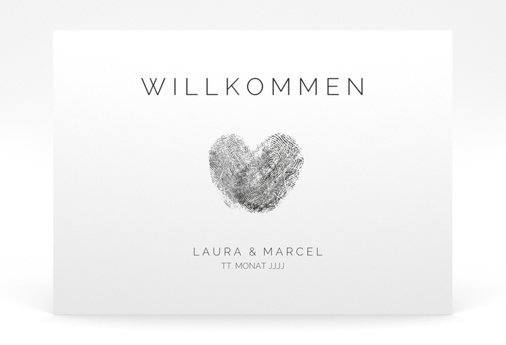 "Willkommensschild Poster ""Fingerprint"" 70 x 50 cm Poster schwarz"