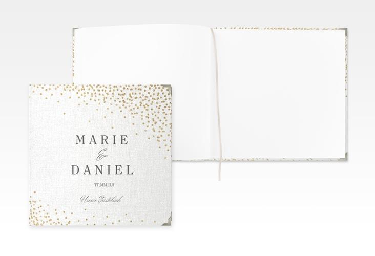 """Gästebuch Selection Hochzeit """"Glitter"""" Leinen-Hardcover weiss"""