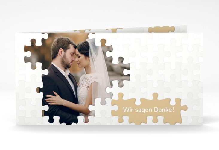 "Dankeskarte Hochzeit ""Puzzle"" DIN lang Klappkarte beige"