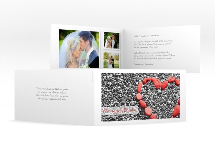 "Dankeskarte Hochzeit ""Bilbao"" DIN lang Klappkarte rot"