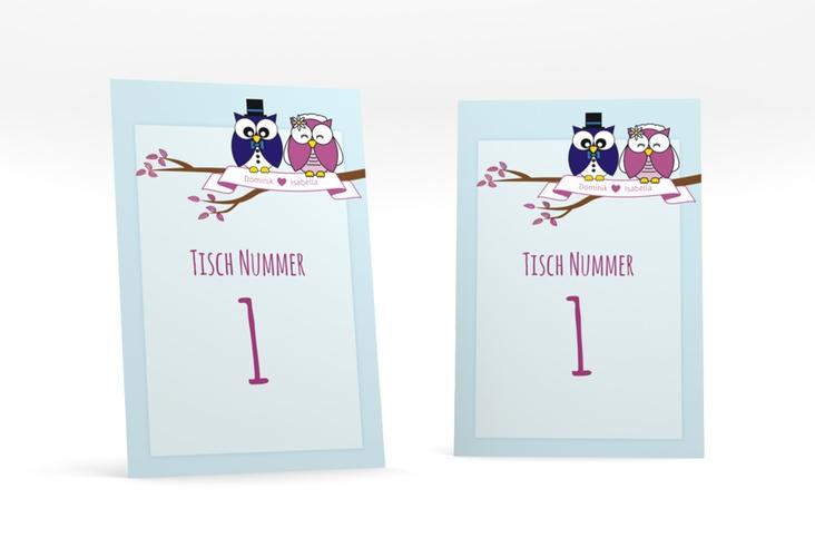 """Tischnummer Hochzeit """"Eulenliebe"""" Tischaufsteller blau"""