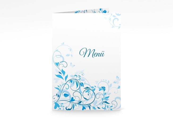 """Menükarte Hochzeit """"Lilly"""" DIN A5 geklappt blau"""