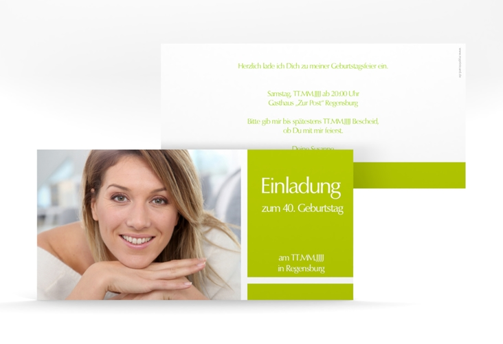 """Einladungskarte """"Gerd/Gerda"""" DIN lang gruen"""