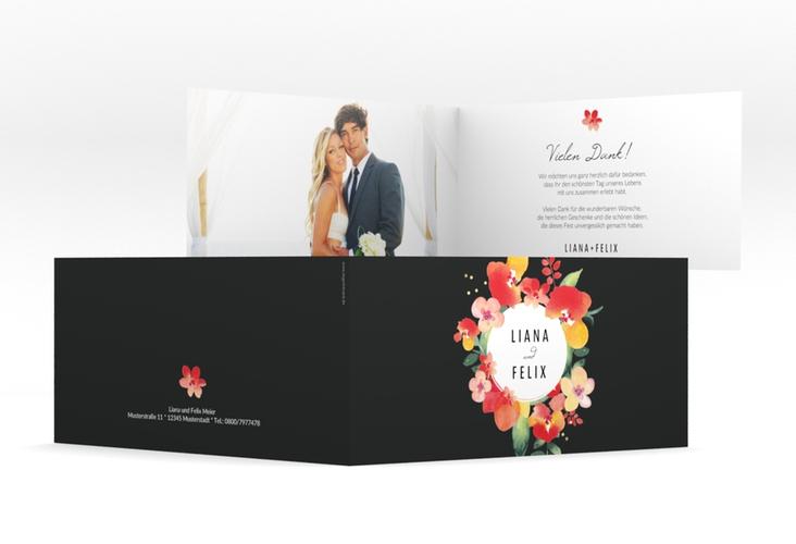 """Danksagungskarte Hochzeit """"Exotic"""" DIN lang Klappkarte schwarz"""
