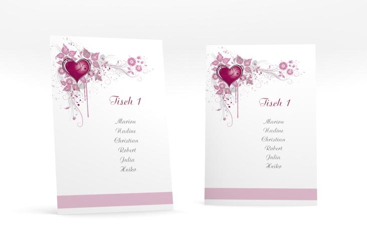 """Tischaufsteller Hochzeit """"Triest"""" Tischaufsteller pink"""