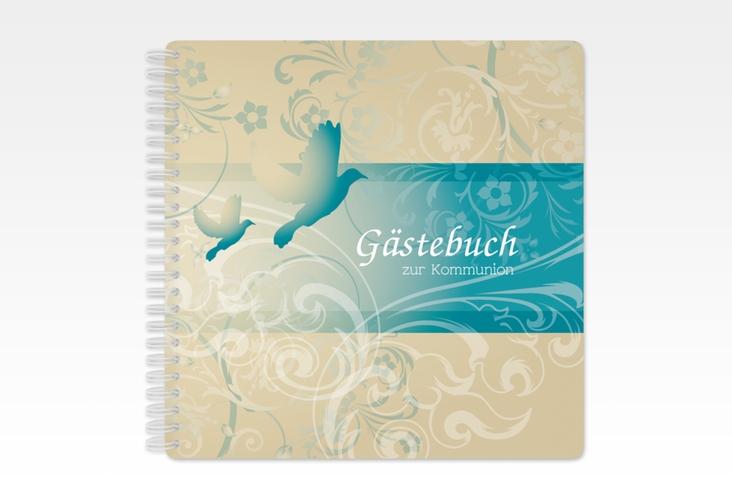 """Gästebuch Kommunion """"Columba"""" Ringbindung tuerkis"""