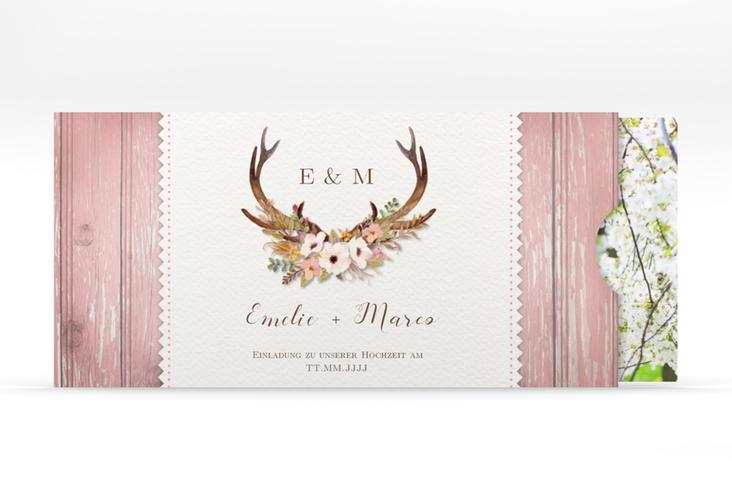 """Hochzeitseinladung """"Heimatjuwel"""" Einsteckkarte rosa"""