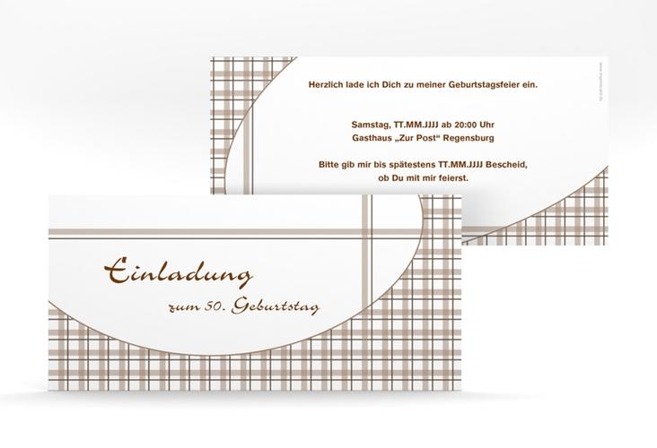 """Einladungskarte """"Herbert"""" DIN lang braun"""