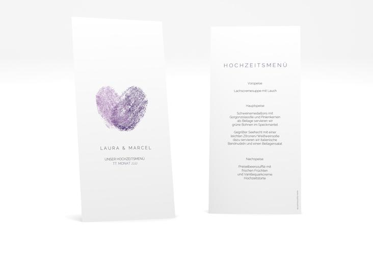 """Menükarte Hochzeit """"Fingerprint"""" DIN lang hoch lila"""