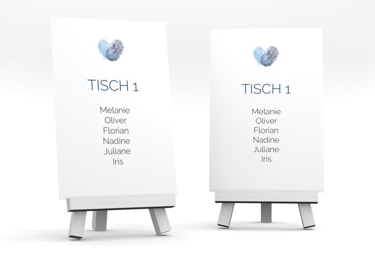 """Tischaufsteller Hochzeit """"Fingerprint"""" Tischaufsteller blau"""