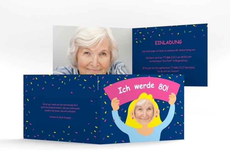 "Einladungskarte ""Comic Woman"" A6 Klappkarte Quer"