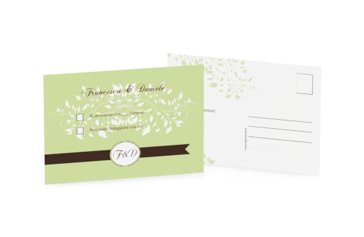 Biglietti risposta matrimonio collezione Malaga A6 Postkarte verde