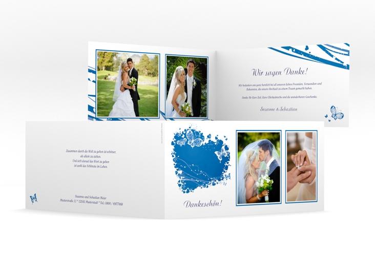 """Danksagungskarte Hochzeit """"Mailand"""" DIN lang Klappkarte blau"""