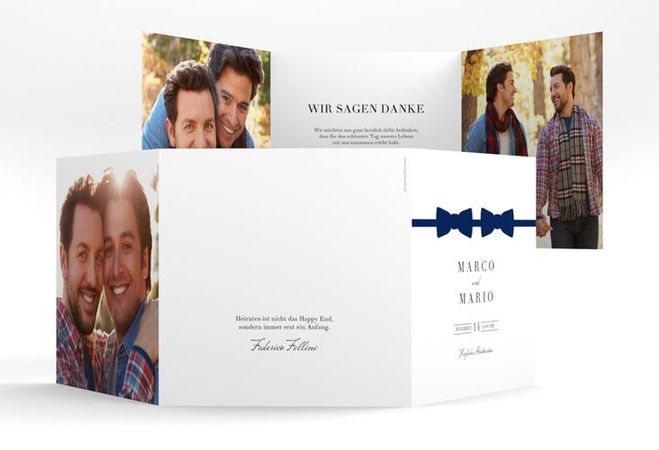 "Dankeskarte Hochzeit ""Suits"" Quadr. Karte doppelt blau"