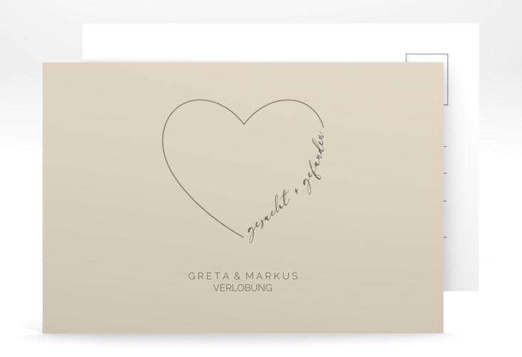 """Verlobungskarte Hochzeit """"Lebenstraum"""" A6 Postkarte beige"""
