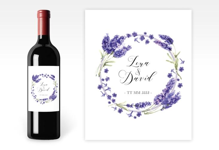 """Weinetikett zur Hochzeit """"Lavendel"""" Etikett Weinflasche 4er Set"""