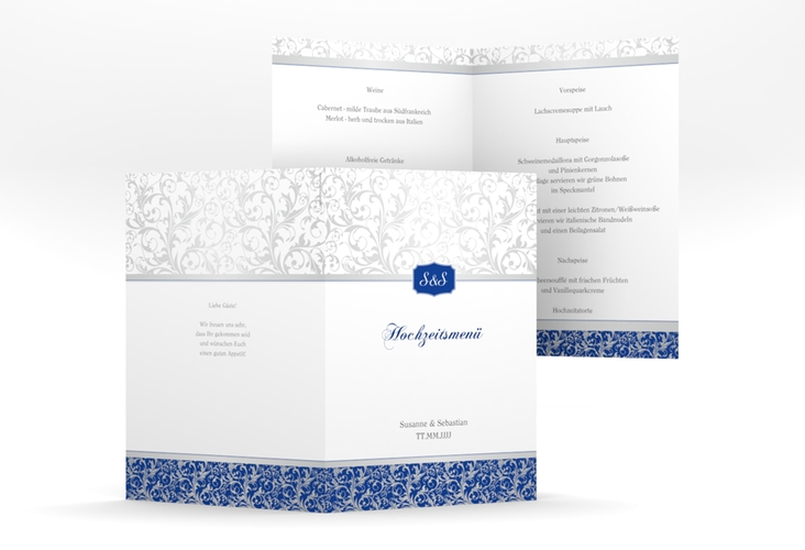 """Menükarte Hochzeit """"Latina"""" DIN A5 geklappt blau"""